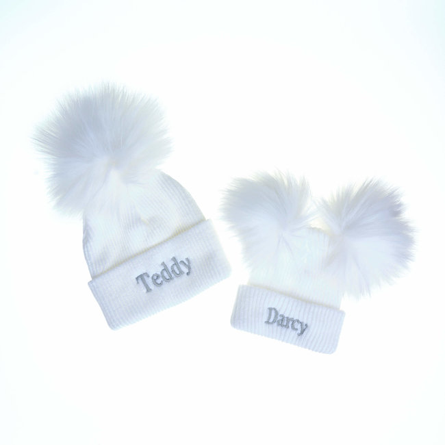 The Name Shops Personalised White Bobble Pom Newborn Baby Hats