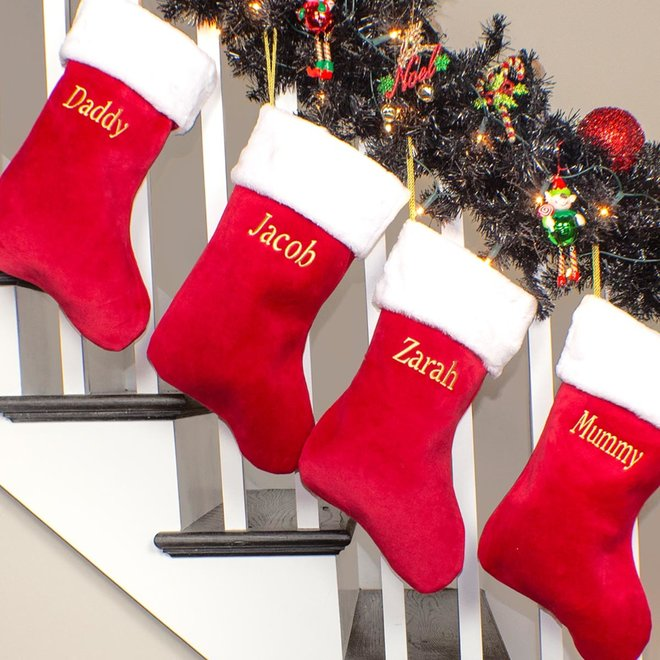 Red Luxury Christmas Stocking, Fluffy White Collar