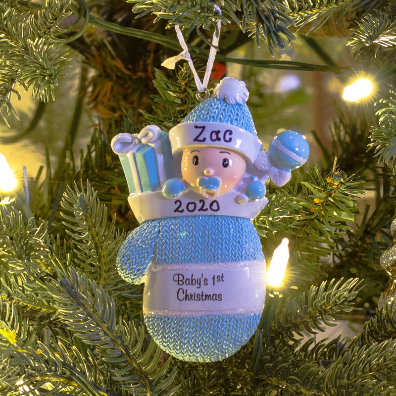Personalised Christmas Tree Decorations - Babys 1st Christmas Mitten