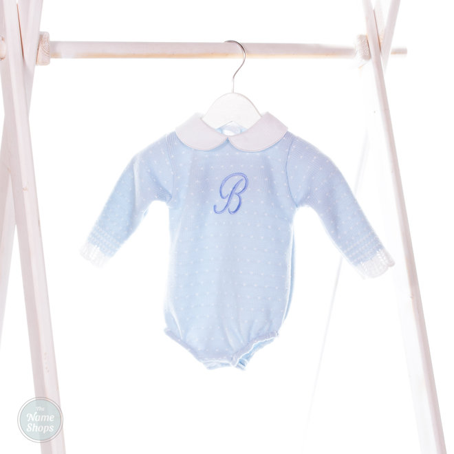 Personalised Blue Knitted Romper
