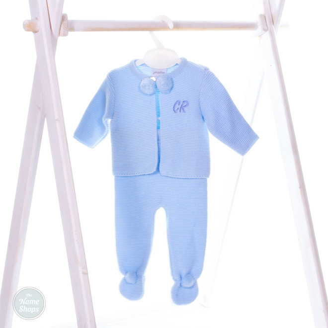 Personalised Boys Blue Two Piece Baby Pom Suit