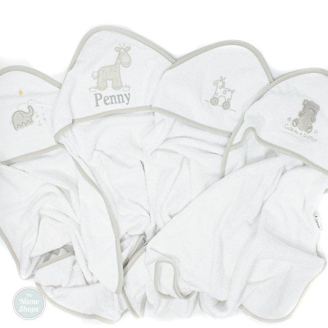Personalised White/Grey Hooded Towel