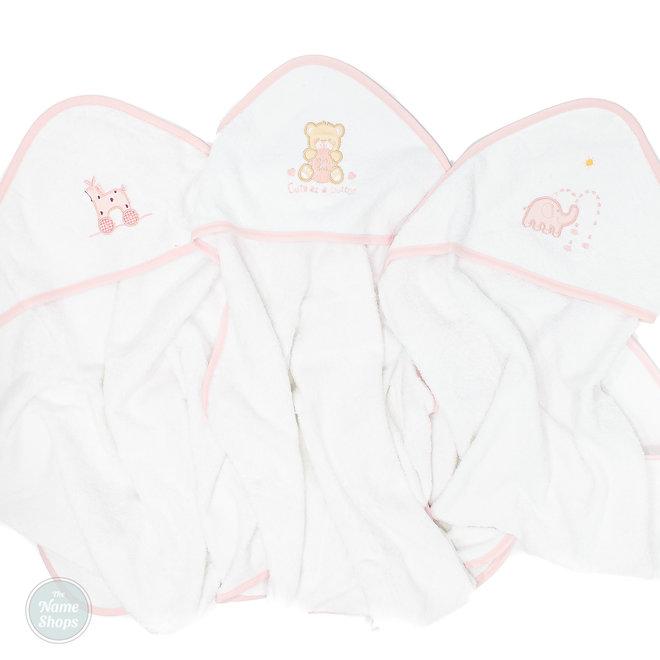 Personalised White/Pink Hooded Towel