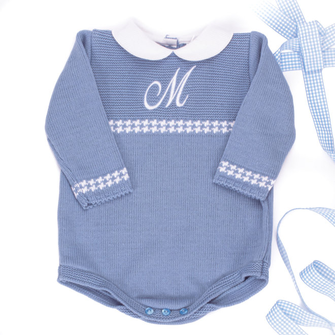 Personalised Dusty Blue Knitted Romper