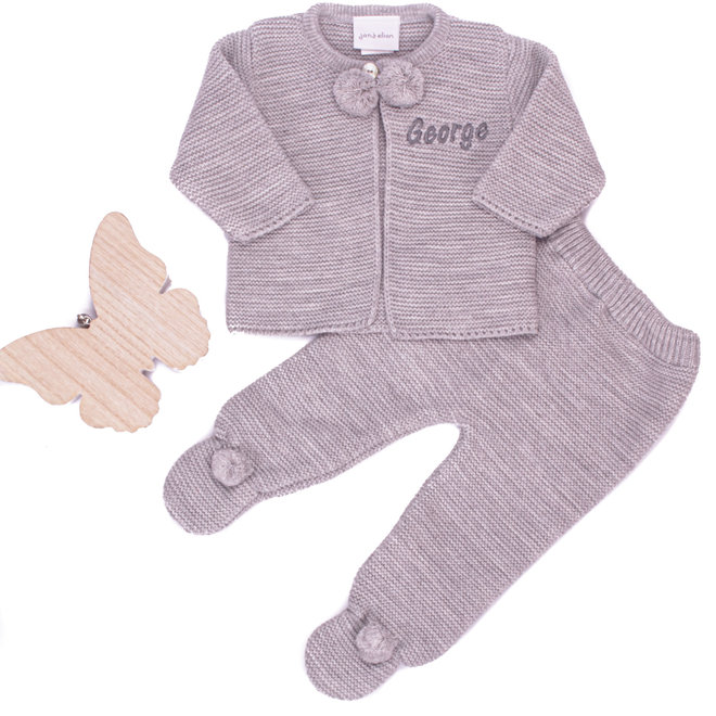 Personalised Grey Baby Pom Two Piece Spanish Style Set