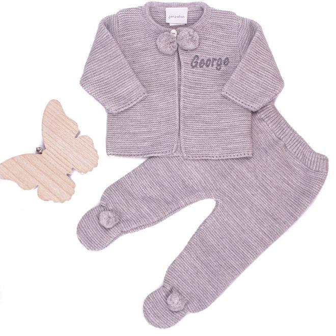 Grey Baby Pom Two Piece Set
