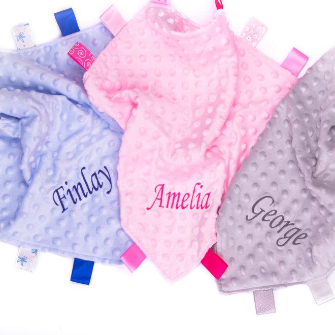 Personalised Blue Taggie Dimple Comfort Blanket