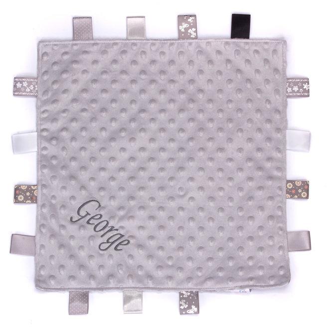 Personalised Grey Taggie Dimple Comfort Blanket