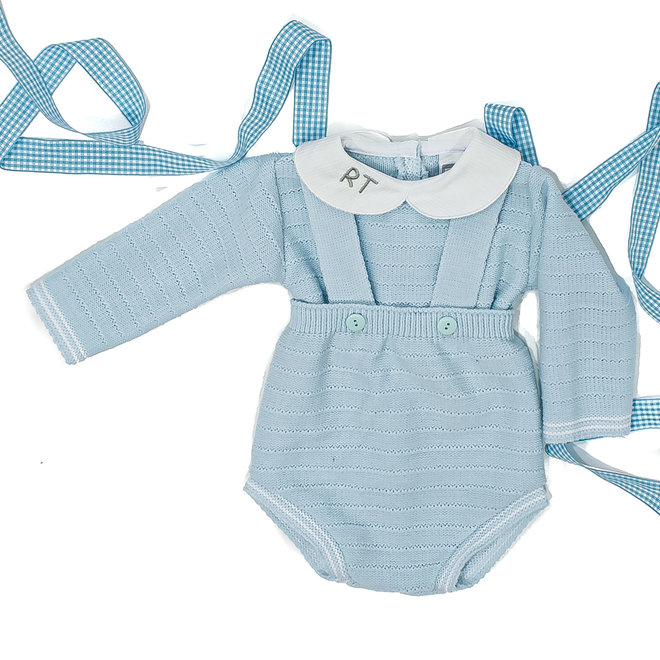 Personalised Boys Blue Knitted Dungaree & Top Set