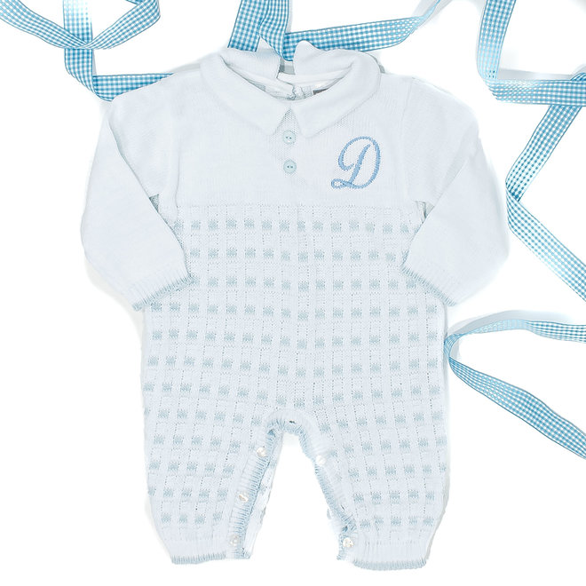 Personalised Boys White/Blue Knitted All in One Babygrow