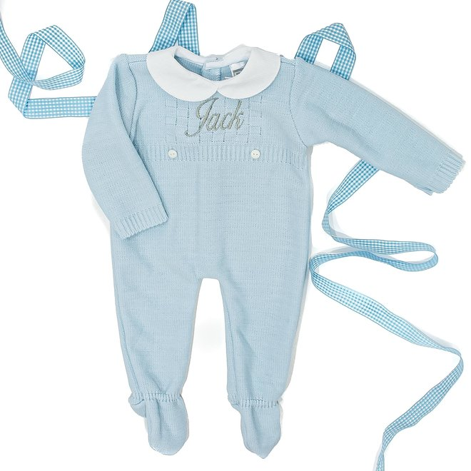 Personalised Blue Knitted Babygrow