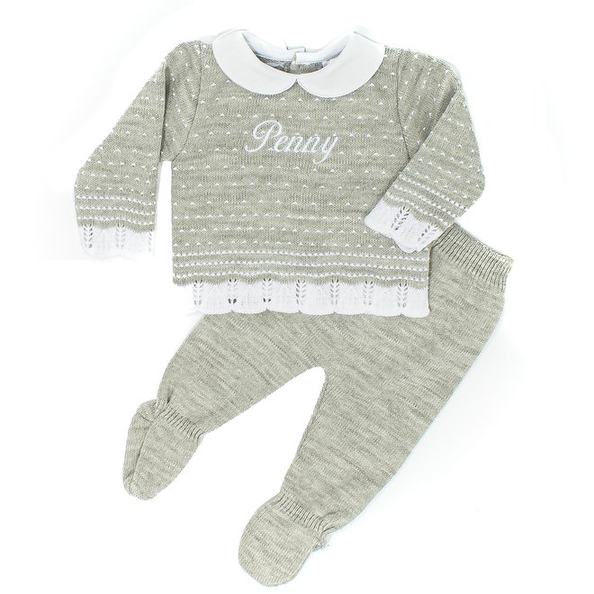 Personalised Grey Knitted Two Piece