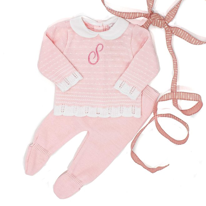 Personalised Pink Knitted Two Piece