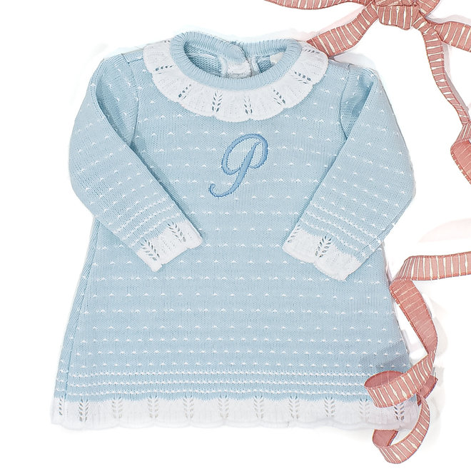 Personalised Girls Blue Knitted Dress