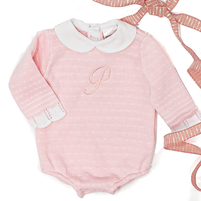 Personalised Pink Knitted Romper