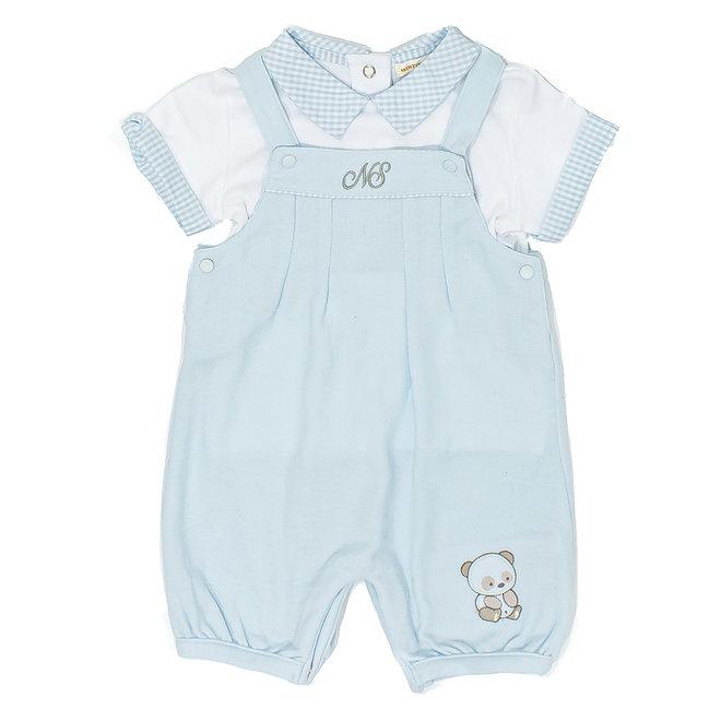 Personalised Baby Boy Dungaree and Top Set Bear Motif
