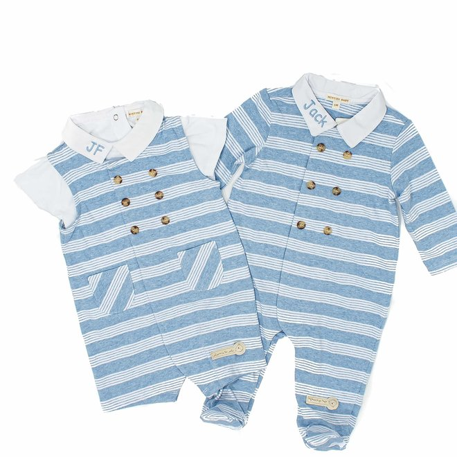 Personalised Baby Boy Stripe Dungaree and Top Set