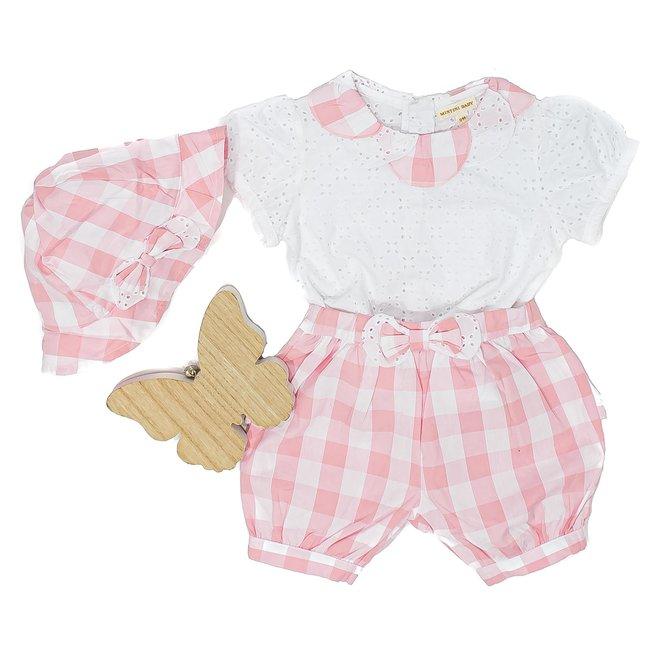 Baby Girls Gingham Top, Shorts & Summer  Hat Set
