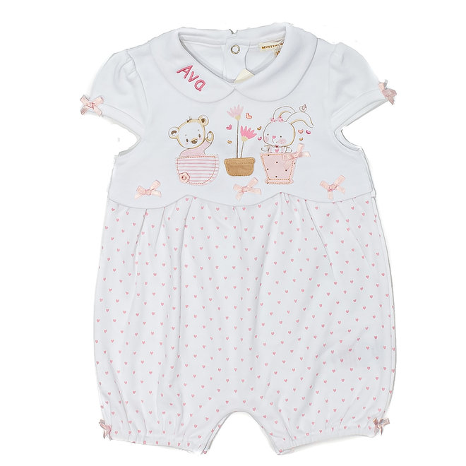 Personalised Baby Girl White/Pink Bunny Romper