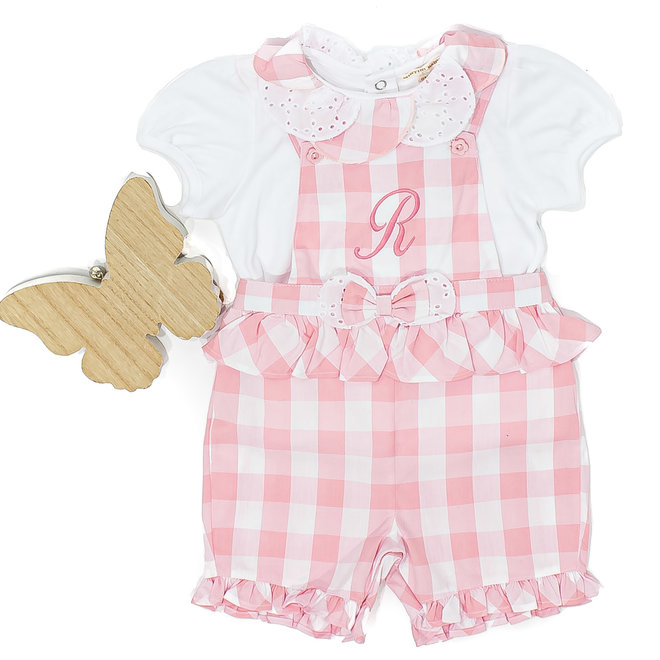 Personalised Baby Girl Gingham Dungarees Set