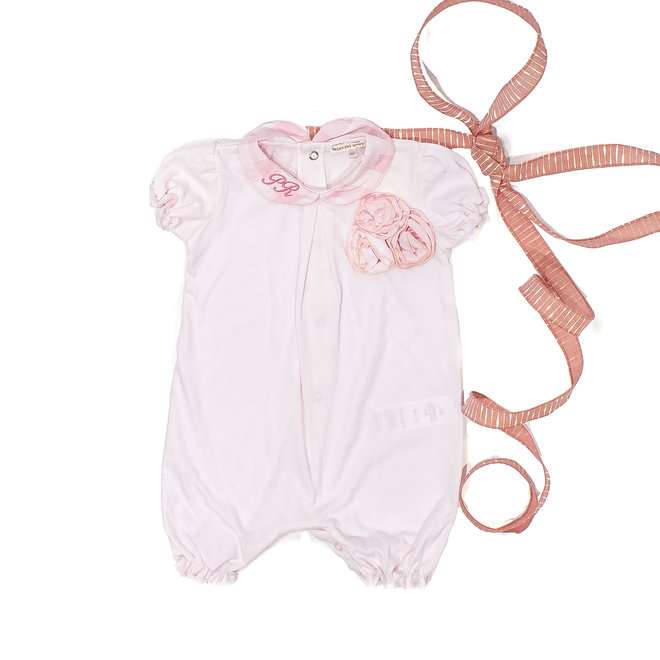 Personalised Pink Romper With 3D roses