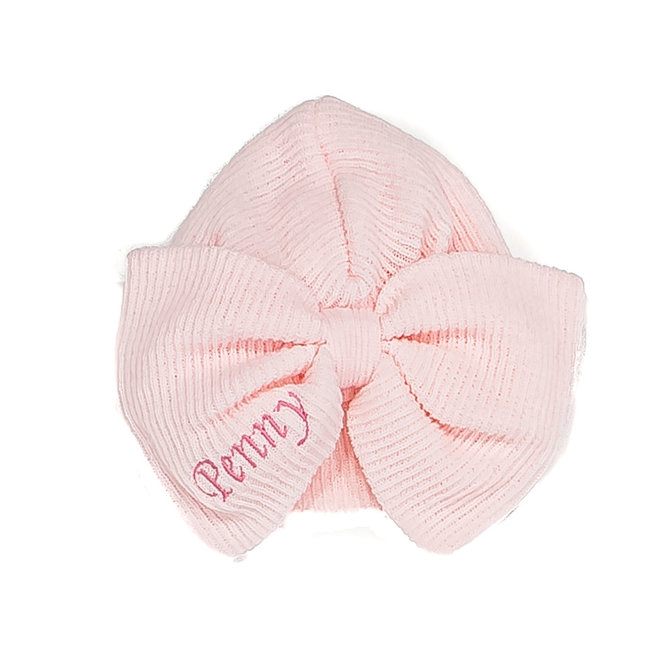 Personalised Large Bow Baby Girl Turban Hat