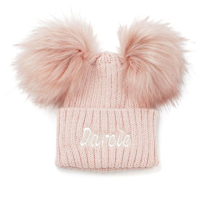 Dusty Pink Baby & Kids Bobble Pom Hat