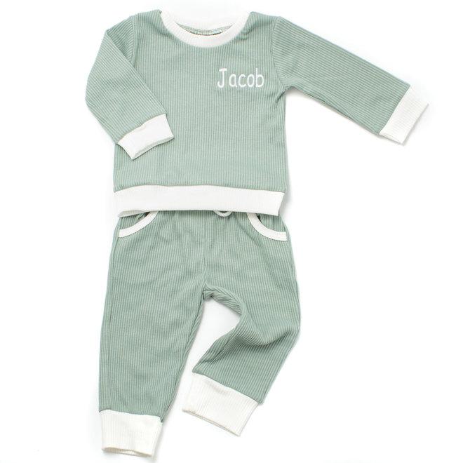 Personalised Baby & Kids Green Loungewear Tracksuit