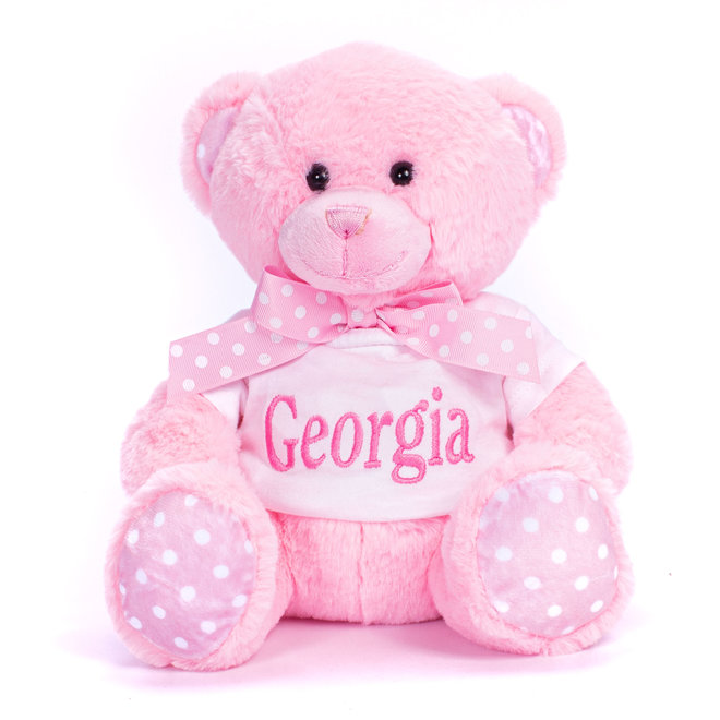 Pink Teddy Bear with Spotty Paws