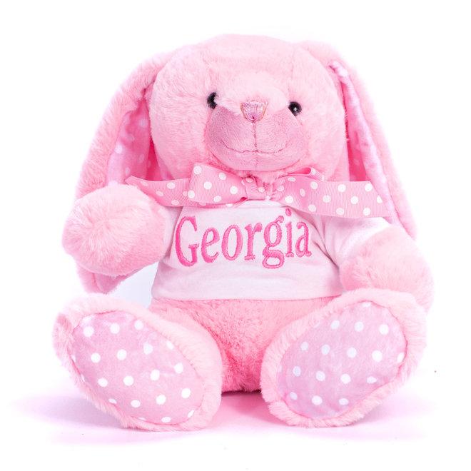 Personalised Pink Bunny Teddy Bear