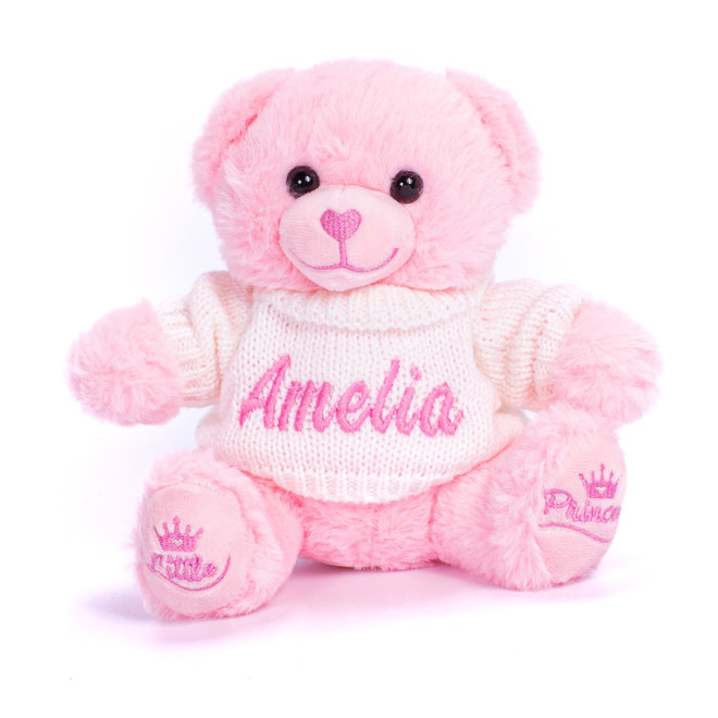 Personalised Pink Teddy Bear With Knitted Jumper
