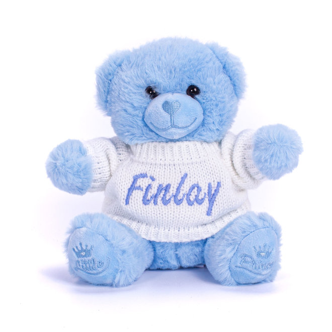Personalised Blue Teddy Bear With Knitted Jumper