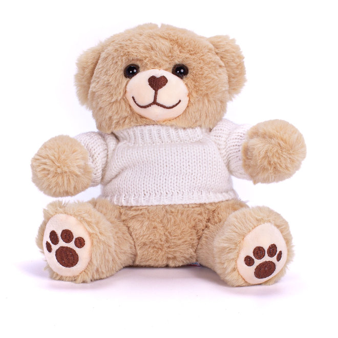 Personalised Brown Teddy Bear With Knitted Jumper