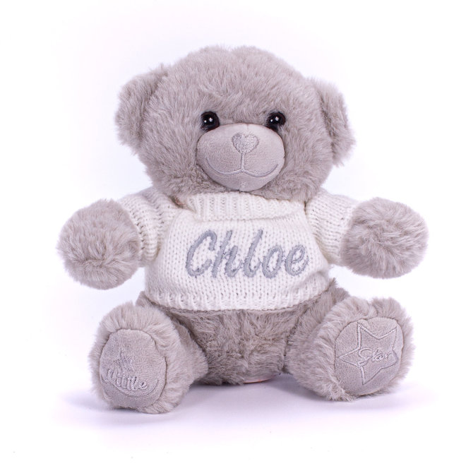 Personalised Grey Teddy Bear With Knitted Jumper