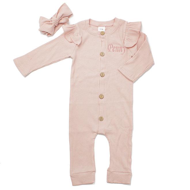 Personalised Baby  Girls Pink Loungewear Set With Headband