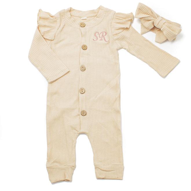 Personalised Baby Girls Apricot Babygrow