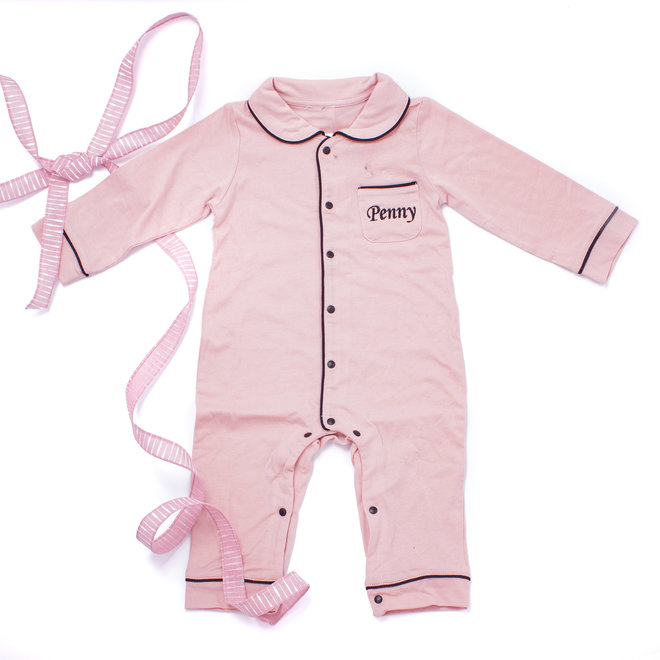 Personalised Baby Girls Pink Pyjama Babygrow