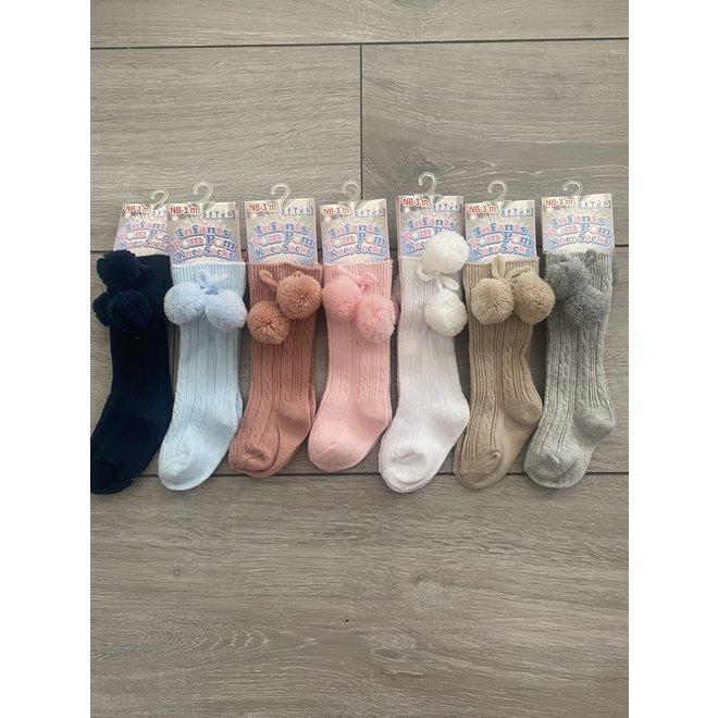 Knee High Pom Pom Baby Socks