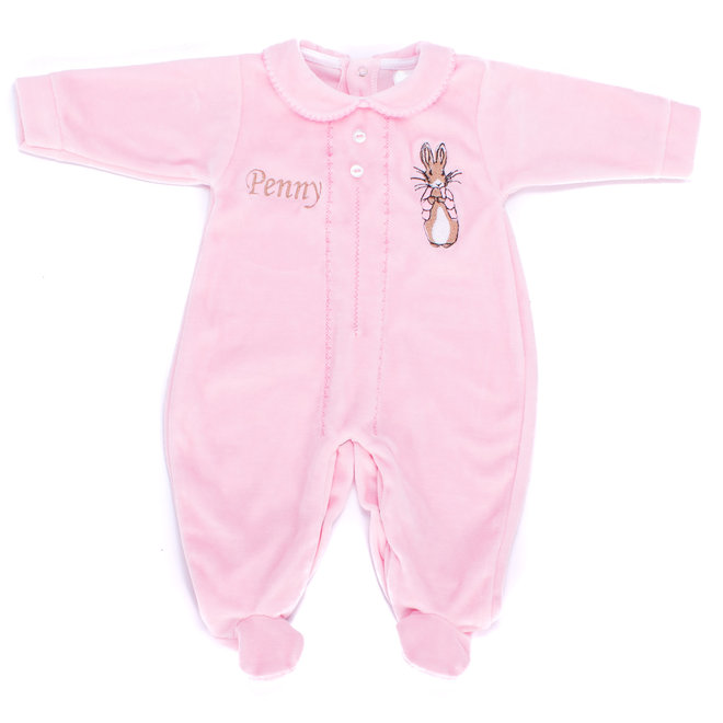 Peter Rabbit Personalised Pink Sleepsuit Baby Grow