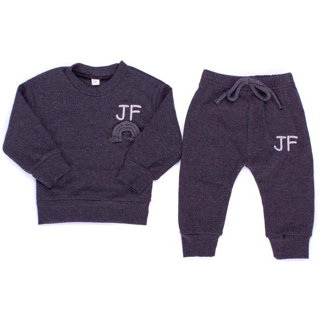Personalised Dark Grey Rainbow Baby & Kids Loungewear Set