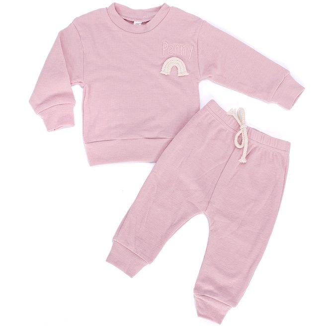 Dusty Pink Rainbow Baby & Kids Loungewear Set