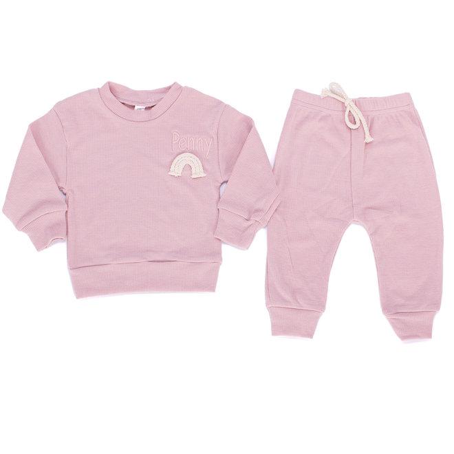 Personalised Dusty Pink Rainbow Baby & Kids Loungewear Set