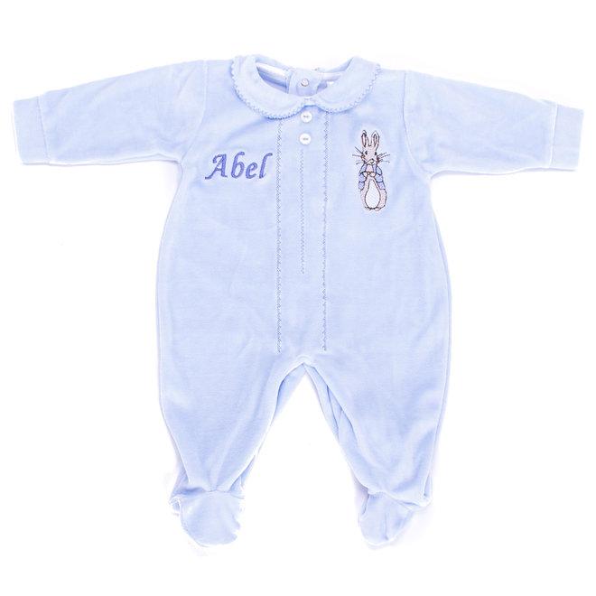 Peter Rabbit Personalised Blue Sleepsuit Baby Grow