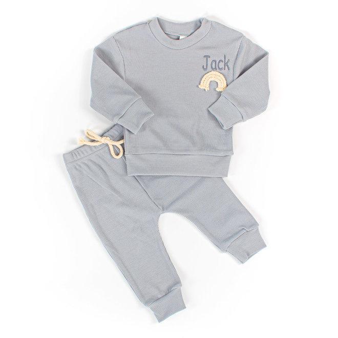 Dusty Blue Rainbow Baby & Kids Loungewear Set