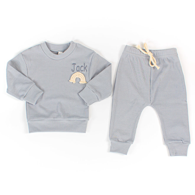 Personalised Dusty Blue Rainbow Baby & Kids Loungewear Set