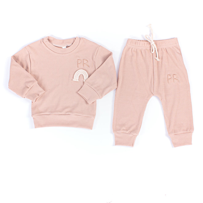 Personalised Apricot Rainbow Baby & Kids Loungewear Set