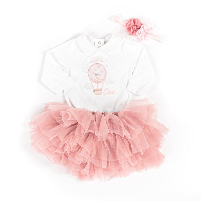 Personalised Baby Girls 1st Birthday White Vest With Tutu & Headband