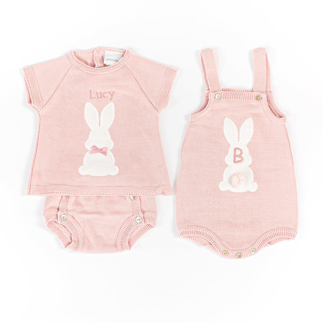 Personalised Baby Girl Dusty Pink Bunny Romper