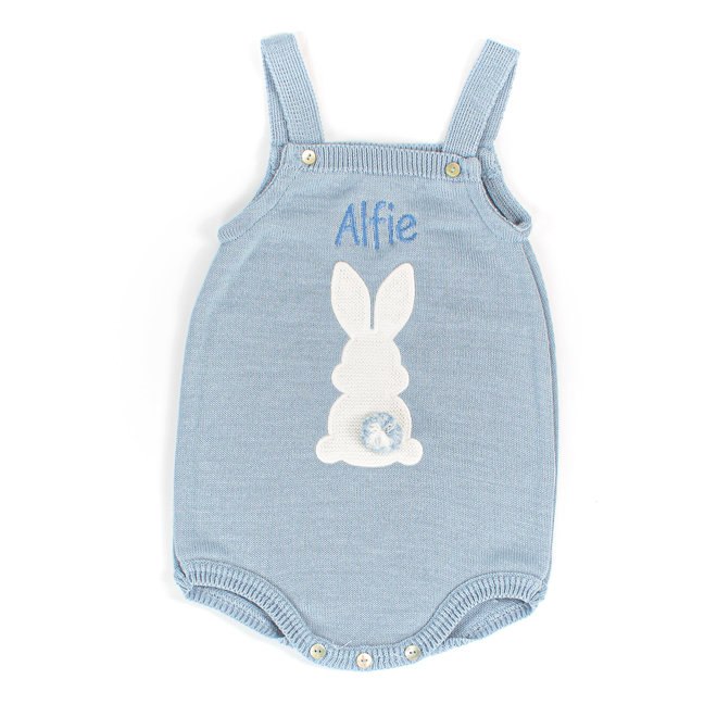 Personalised Baby Boy Dusty Blue Bunny Romper