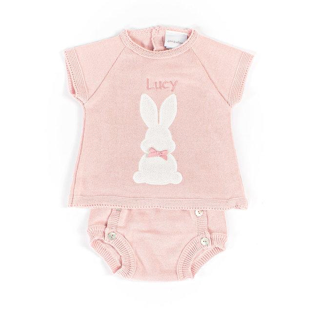 Baby Girl Dusty Pink Bunny Top & Pants